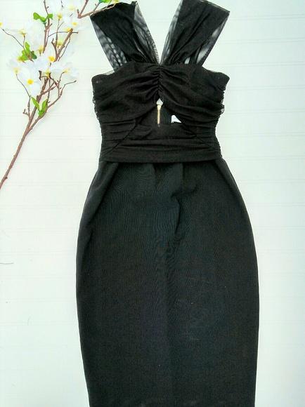 Bec Bridge Dresses Bec Bridge Black Mesh Dress With Front Cutout